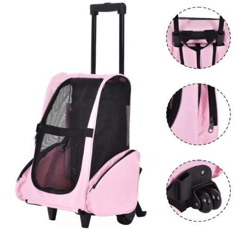 Pet Rolling Dog Cat Carrier Back Pack