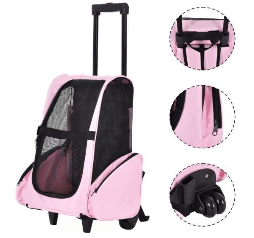 Pet Rolling Dog Cat Carrier Back Pack