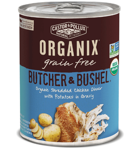 Butcher & Bushel Grain Free Organic Shredded Chicken Dinner with Potatoes in Gravy Wet Dog Food