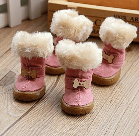 Colorfulhouse Cute Bone Pet Snow Boots Nonslip Winter Dog Boots