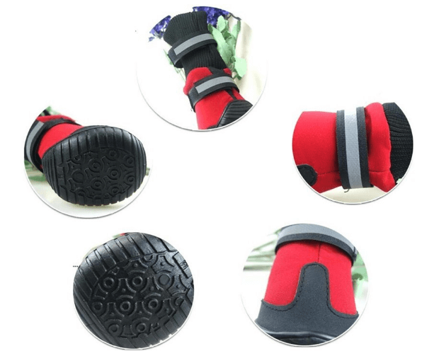 Pet Dog Anti-Slip Fleece Lined Winter Boots Paw Protector Dog Shoes