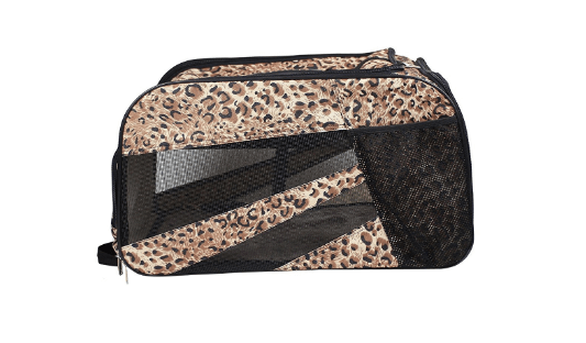 Pet Smart Cart Carrier, Small, Cheetah, soft sided collapsible Folding Travel Bag, Dog Cat Airline Approved