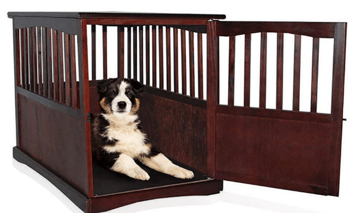 Wooden Pet Crate Table For Dog's Cat's Espresso Enclosure Cage