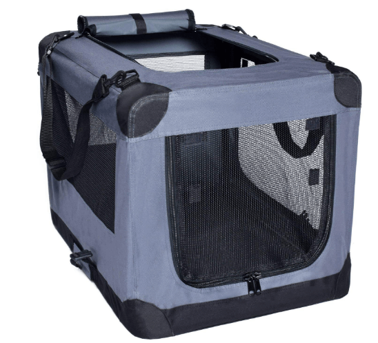 Arf Pets Dog Soft Crate 27 Inch Kennel for Pet Indoor Home & Outdoor Use - Soft Sided 3 Door Folding Travel Carrier