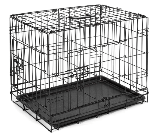 SmithBuilt Double Door Folding Metal Dog Crate, 30 Inch Long with Divider